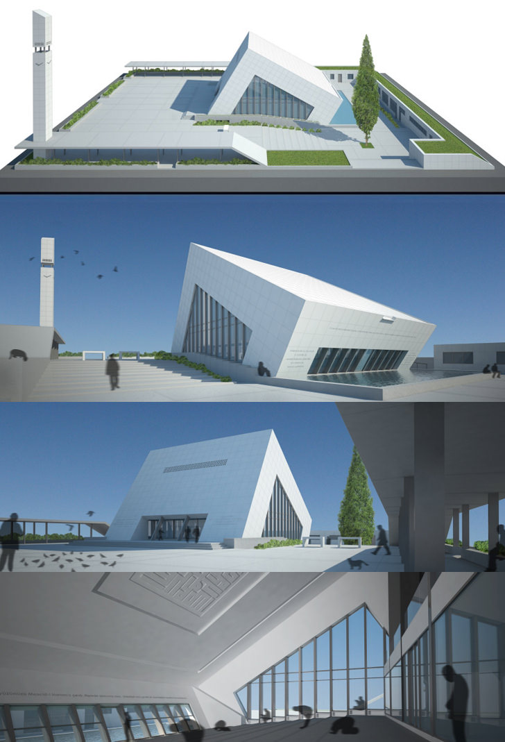 Contemporary modern mosque for For architecture