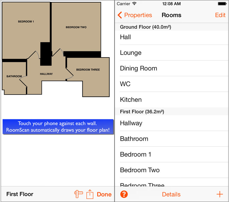 Roomscan Floor Plan Measuring App For Apple Ios Iphone