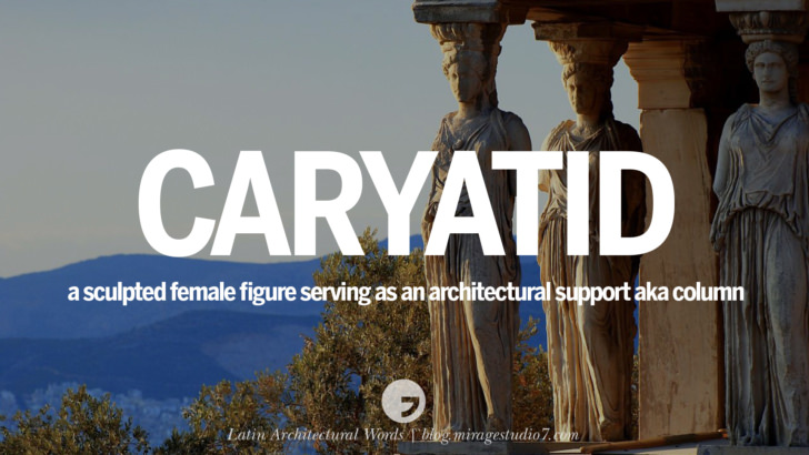 caryatid a sculptured female figure serving as an architectural support, also known as a column. The later male counterpart of the caryatid is referred to as a telamon Beautiful Latin and Ancient Greek Architecture Words instagram facebook twitter pinterest
