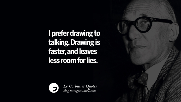 I prefer drawing to talking. Drawing is faster, and leaves less room for lies. Le Corbusier Quotes On Light, Materials, Architecture Style And Form