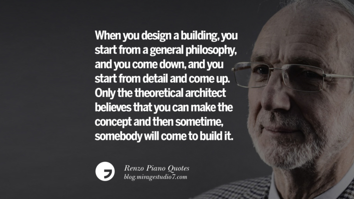 When you design a building, you start from a general philosophy, and you come down, and you start from detail and come up. Only the theoretical architect believes that you can make the concept and then sometime, somebody will come to build it. Renzo Piano Quotes On Changes And The Art of Making Buildings